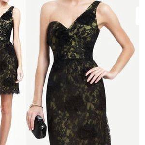 BCBG MAXAZRIA One-Shoulder Black Floral Lace Dress